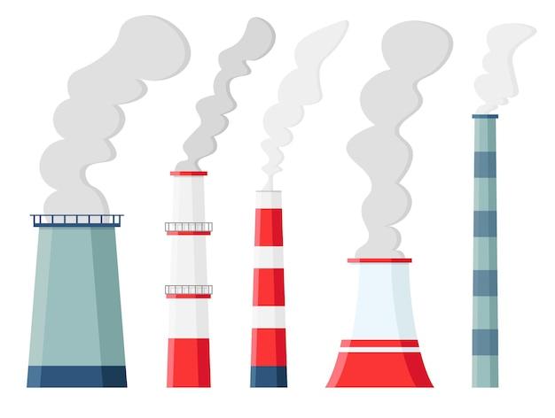 Fabrik luftverschmutzung. umweltverschmutzung kohlendioxidemissionen. giftige fabriken und pflanzen mit dämpfen oder smog isoliert. verschmutzende schornsteine. Premium Vektoren