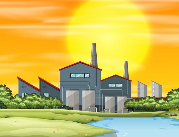 Fabrik mit verschmutzung bei sonnenuntergang Kostenlosen Vektoren