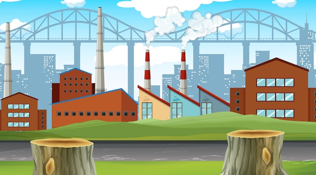Fabrik stadt szene Kostenlosen Vektoren