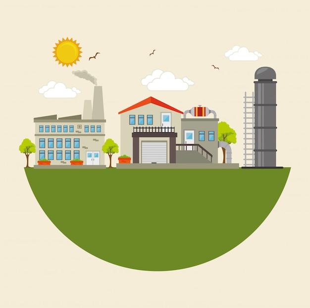 Fabrik- und industrieanlagen Premium Vektoren