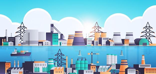 Fabrikbau industriegebiet anlage mit rohren und kaminen Premium Vektoren