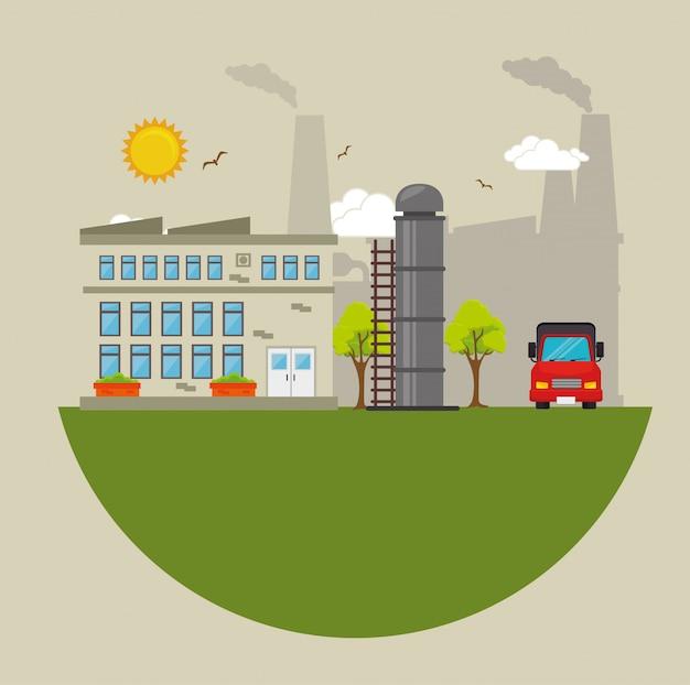 Fabriken und industrien grafisch Premium Vektoren