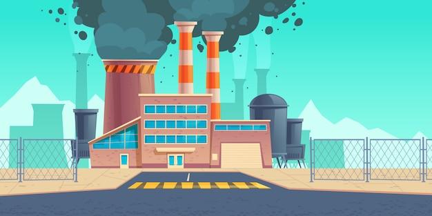 Fabrikgebäude mit schwarzem rauch aus kaminen Kostenlosen Vektoren
