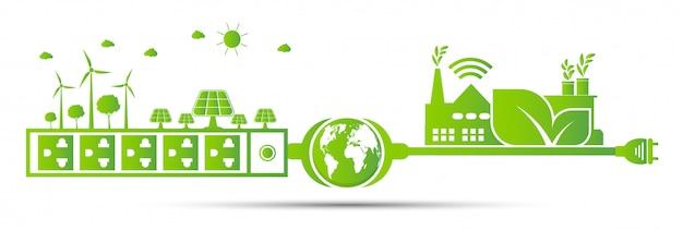 Fabrikökologie, energieideen retten das weltkonzept netzstecker grün Premium Vektoren