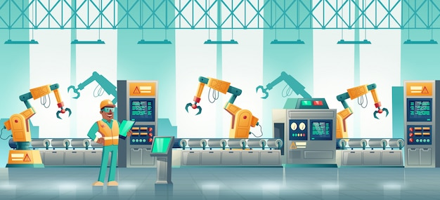 Fabrikrobotisierte fertigungslinie cartoon Kostenlosen Vektoren