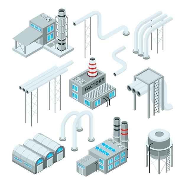 Fabrikrohr und satz industriegebäude. isometrische bilder Premium Vektoren