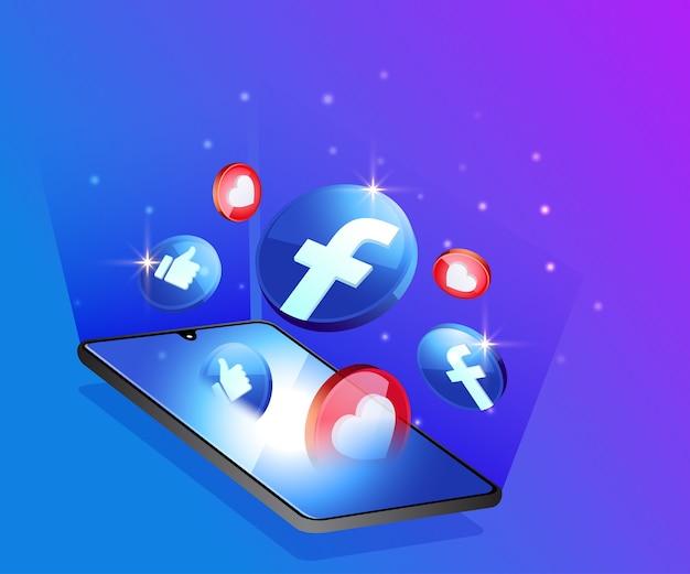 Facebook 3d social media icons mit smartphone-symbol Premium Vektoren