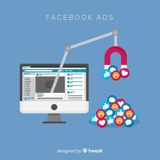 Facebook anzeigen flachen hintergrund Kostenlosen Vektoren