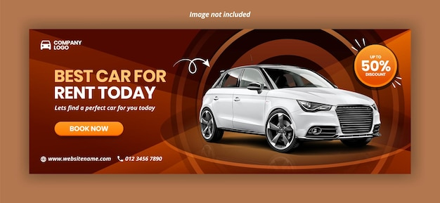 Facebook-banner-vorlage für autovermietung Premium Vektoren