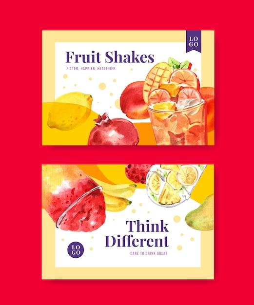 Facebook banner vorlage mit früchten smoothies Kostenlosen Vektoren