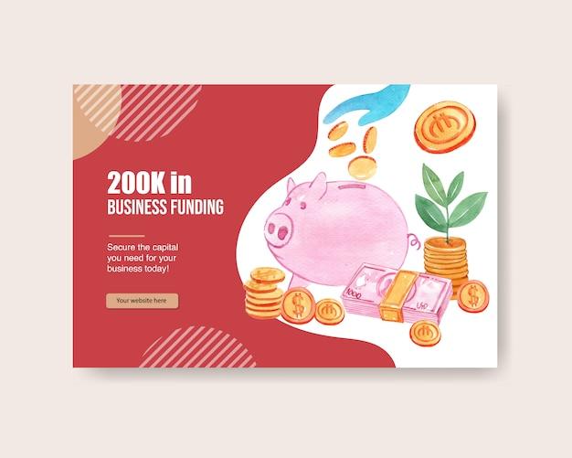 Facebook design vorlage mit sparschwein mit münzen aquarell hand gezeichnete illustration Kostenlosen Vektoren