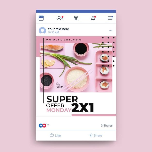 Facebook food restaurant vorlage mit foto Kostenlosen Vektoren
