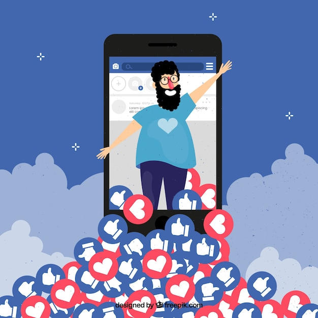 Facebook-hintergrund mit charakter, herzen und likes Kostenlosen Vektoren