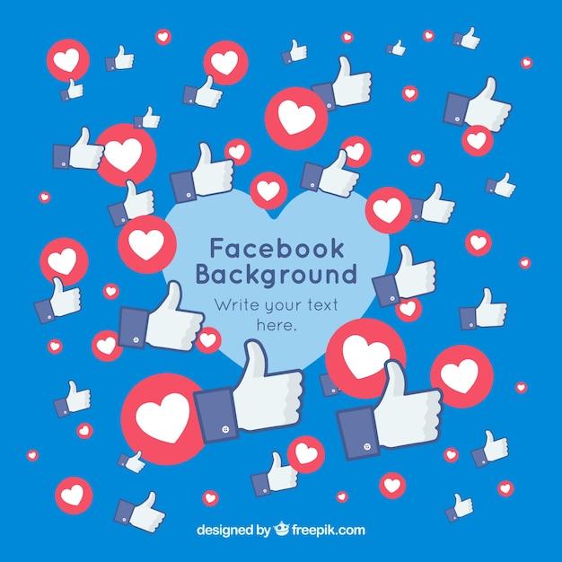 Facebook-hintergrund mit herzen und likes Kostenlosen Vektoren