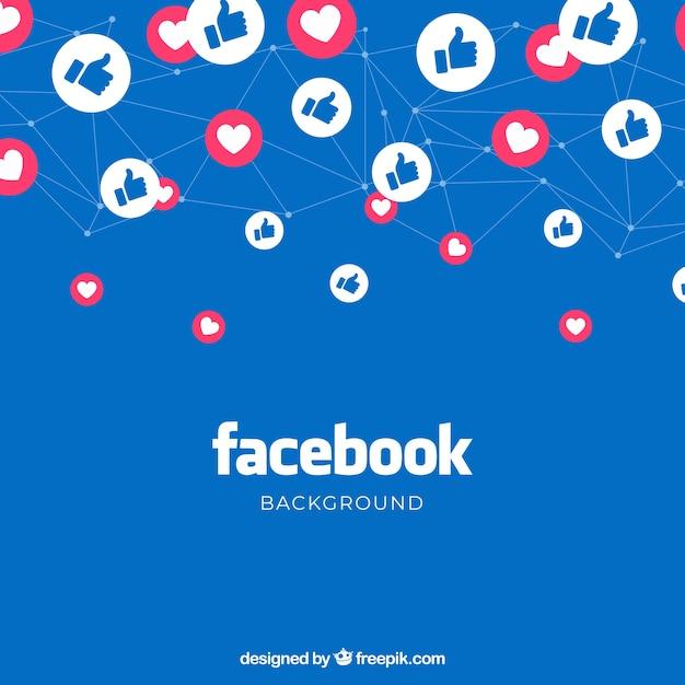 Facebook-hintergrund mit likes und herzen Kostenlosen Vektoren