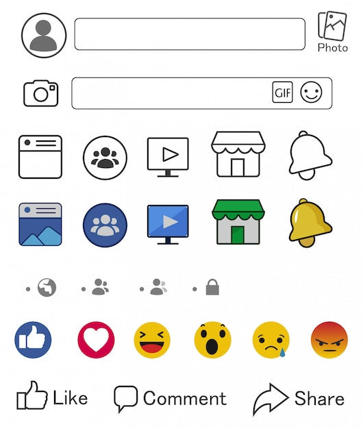 Facebook-icons und komponenten von social media-bildschirmen Premium Vektoren