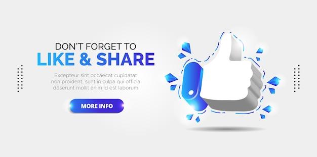 Facebook promotion design für likes und abonnenten. Premium Vektoren