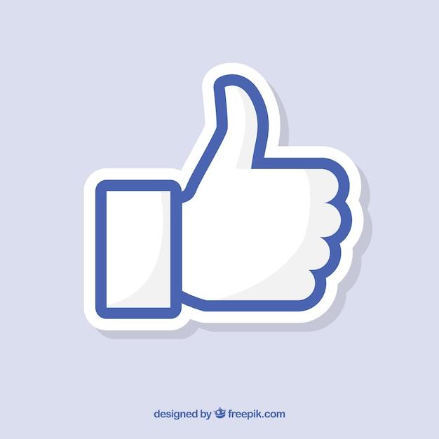 Facebook thumb up wie hintergrund in der flachen art Kostenlosen Vektoren