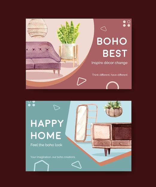 Facebook-vorlage mit boho-möbel-konzeptentwurf für soziale medien und online-marketing-aquarellillustration Kostenlosen Vektoren