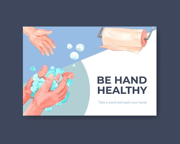 Facebook-vorlage mit globalem handwaschtag-konzeptdesign Kostenlosen Vektoren