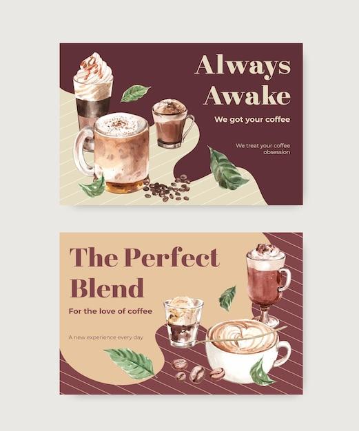 Facebook-vorlage mit koreanischem kaffeestilkonzept für aquarell der sozialen medien und des online-marketings Kostenlosen Vektoren
