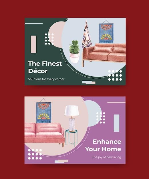 Facebook-vorlage mit luxusmöbeln im aquarellstil Kostenlosen Vektoren