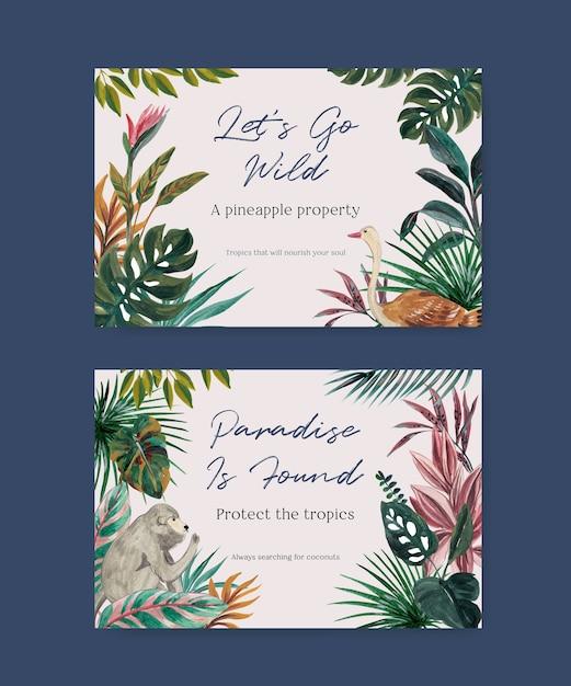 Facebook-vorlage mit tropischem zeitgenössischem konzeptdesign für soziale medien und online-marketing-aquarellillustration Kostenlosen Vektoren