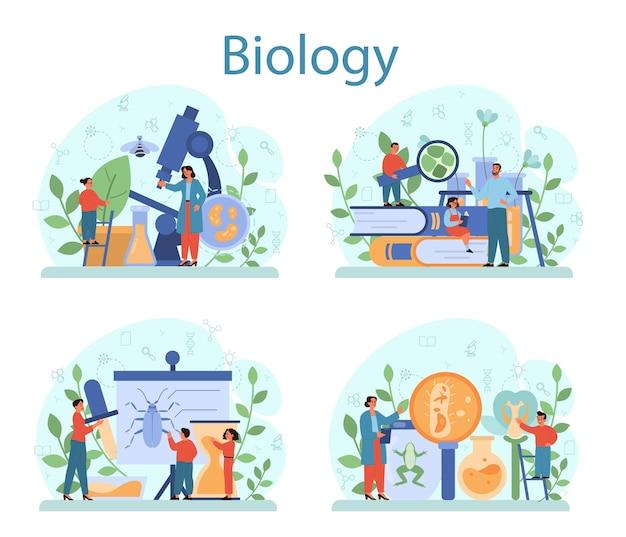 Fachkonzept der biologie-schule. wissenschaftler erforschen mensch und natur. anatomie- und botanikunterricht. idee von bildung und experiment. Premium Vektoren