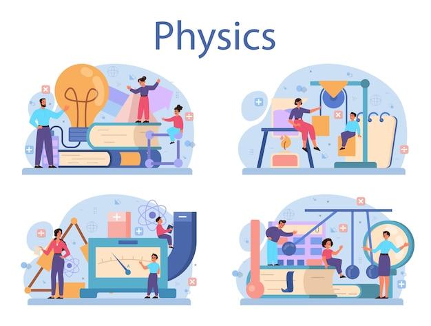 Fachkonzept der physikschule. wissenschaftler erforschen elektrizität, magnetismus, lichtwelle und kräfte. theoretisches und praktisches studium. physikkurs und unterricht. Premium Vektoren