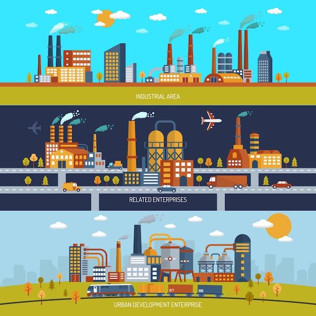 Factory banner set Kostenlosen Vektoren
