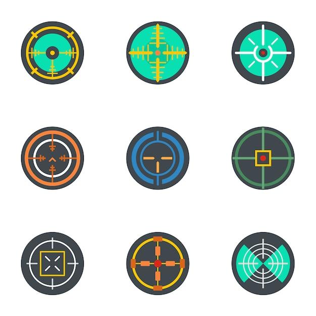 Fadenkreuz-icon-set, flachen stil Premium Vektoren