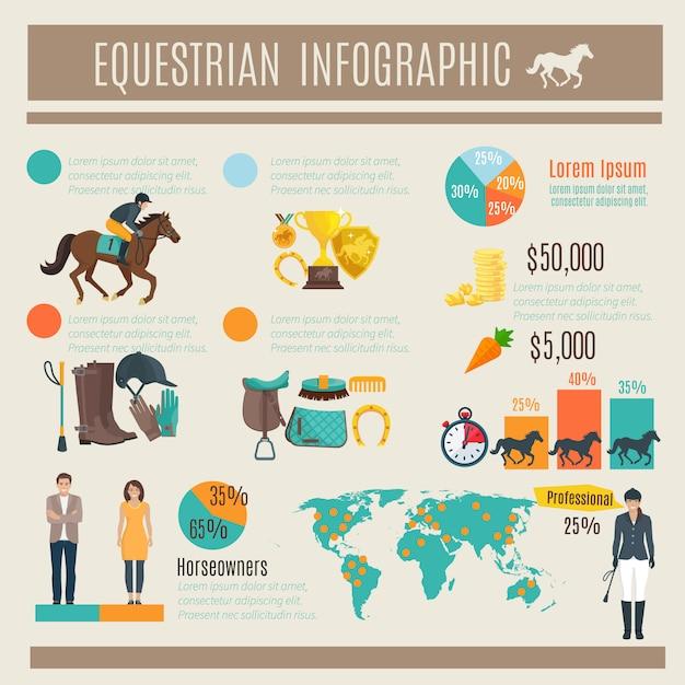 Färben sie dekorative infografik über pferdesport und jockey Kostenlosen Vektoren