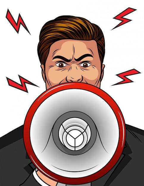Färben sie pop-art-comic-artillustration eines verärgerten mannes mit einem lautsprecher in seiner hand. Premium Vektoren