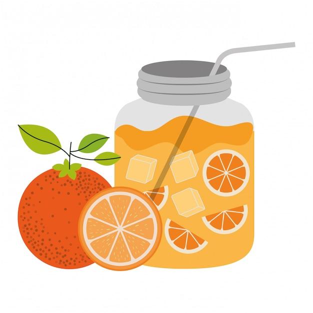 Färben sie schattenbild der flasche mit der erneuerung der orange getränkvektorillustration Premium Vektoren