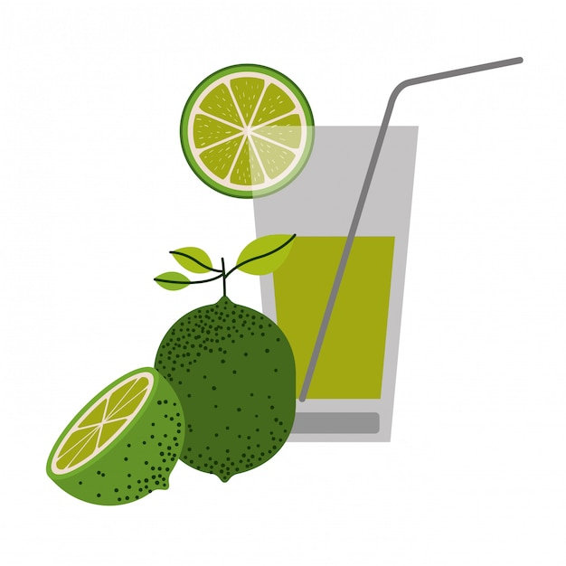 Färben sie schattenbild des limonadengetränks mit zitronenscheibe und zitronenfruchtvektorillustration Premium Vektoren