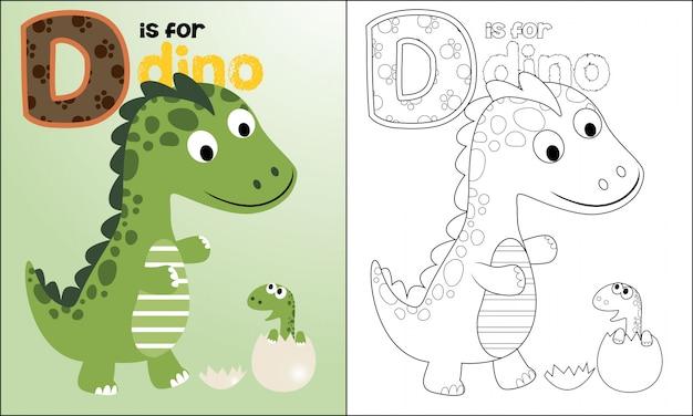Färbung der schönen dino-cartoon Premium Vektoren