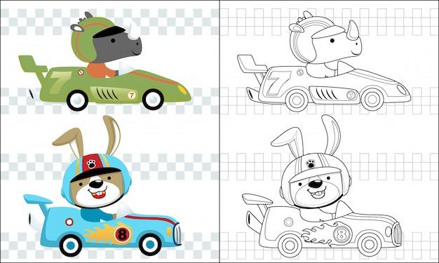Färbung rennwagen cartoon mit lustigen rennfahrer Premium Vektoren