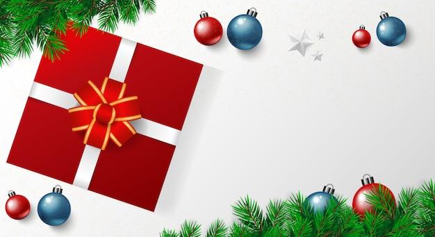 Fahne der frohen weihnachten mit vektor, goldsterne, rotes blaues weißes backgro der weihnachtskugeln Premium Vektoren