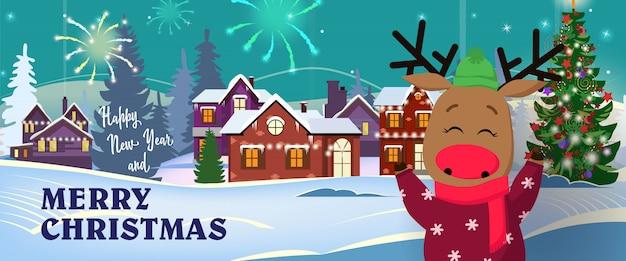 Fahne des guten rutsch ins neue jahr und der frohen weihnachten mit lustigen rotwild Kostenlosen Vektoren