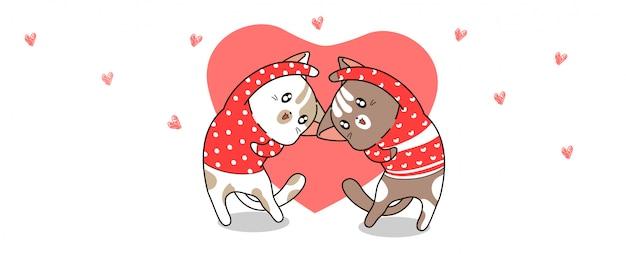 Fahne kawaii katzen fungieren mit herzen für valentinstag Premium Vektoren