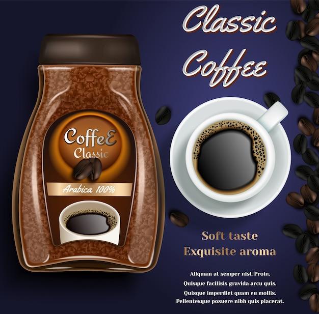 Fahne mit instantkaffeeglas, tasse kaffee und kopienraum Premium Vektoren