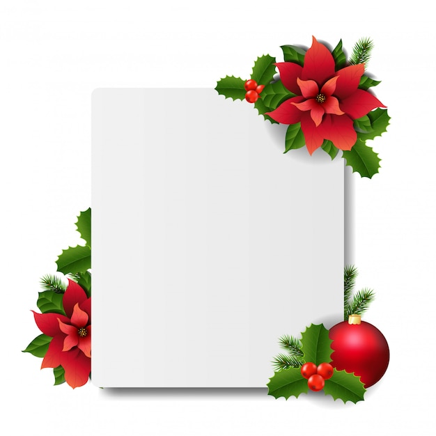 Fahne mit roter weihnachtspoinsettia Premium Vektoren