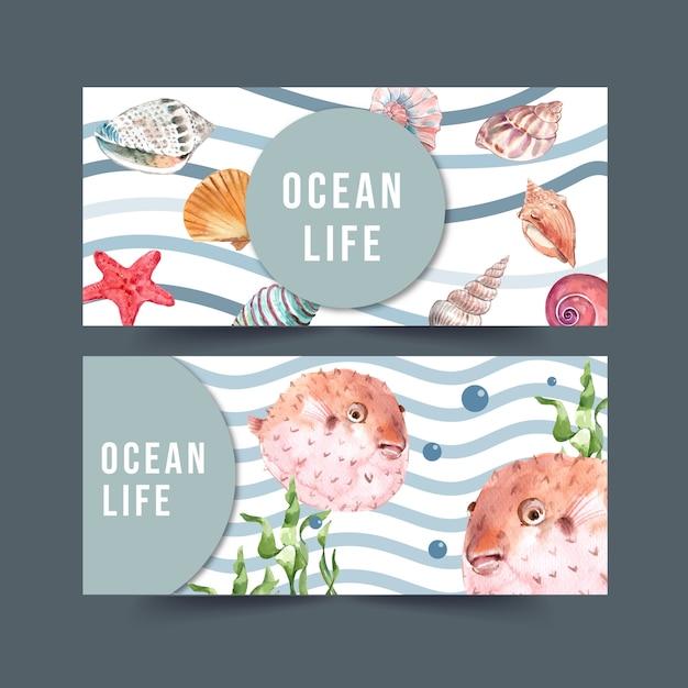 Fahne mit sealife thema, pufferfischen und oberteilaquarellillustration. Kostenlosen Vektoren
