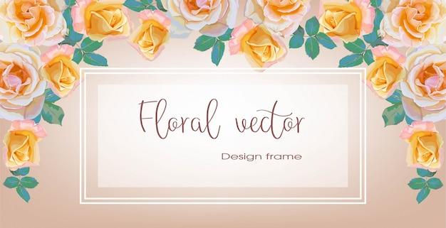 Fahnen des rosenblumenblumenstraußrahmens für einladungsgrußkarten-vektorillustration Premium Vektoren