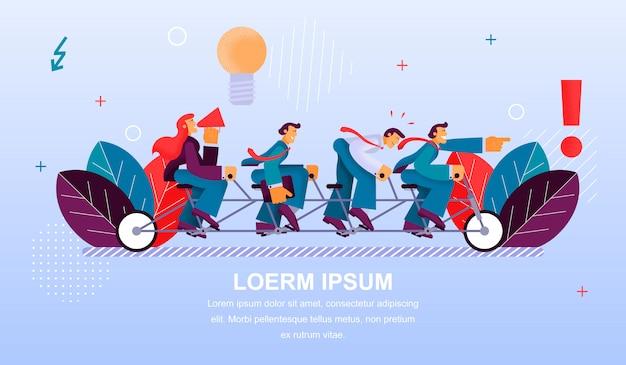 Fahnen-illustration-teamwork-gruppe Premium Vektoren