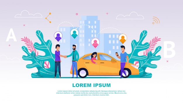 Fahnen-illustrations-gruppen-leute-reise-begleiter Premium Vektoren