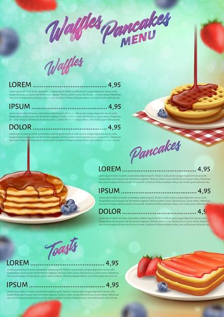 Fahnen-menü-waffel-pfannkuchen und toast realistisch. Premium Vektoren