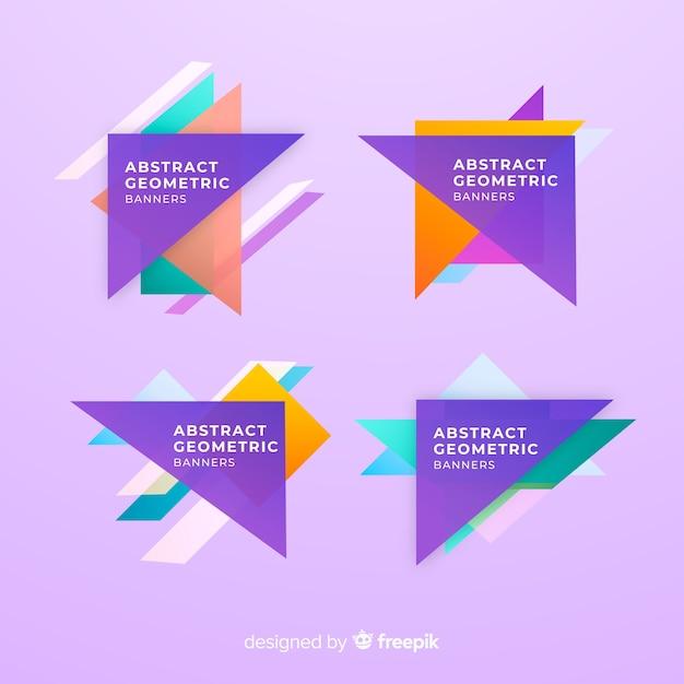 Fahnen-sammlung der geometrischen dreiecke Kostenlosen Vektoren