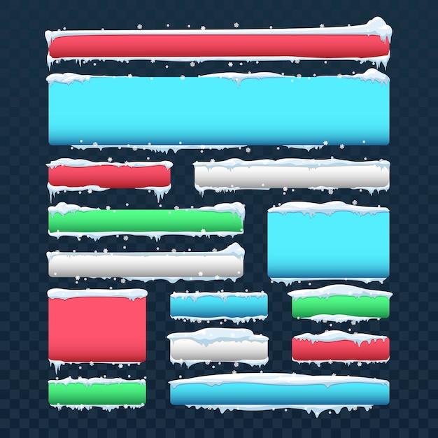 Fahnen und knöpfe mit schneekappen und eiszapfenvektorsatz. knopffarbrahmen mit weißer schneekappenillustration Premium Vektoren
