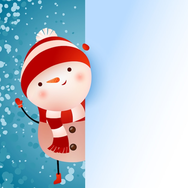 Fahnendesign mit schneemann und schneeflocken Kostenlosen Vektoren